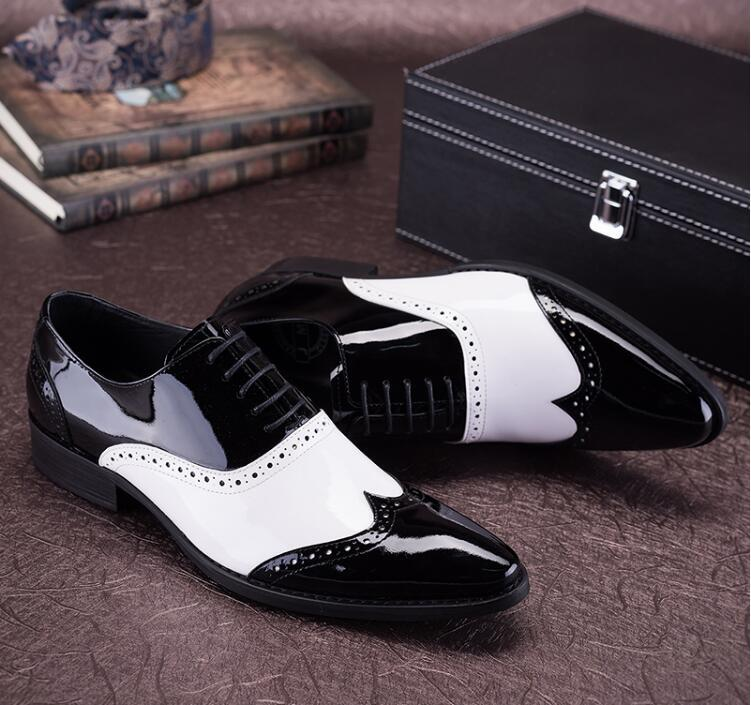 Color Black Cuero Dedos Blanco Zapatos Tallado Vestir De Patchwork Negro Hombre Mix Genuino Oxford Puntiagudos Imitar Lace up Nuevo Zapato SHnzq