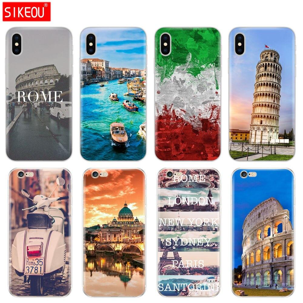 Galleria fotografica Silicone Cover Phone Case For Iphone 6 X 8 7 6s 5 5s SE Plus 10 Case italy rome pisa tower
