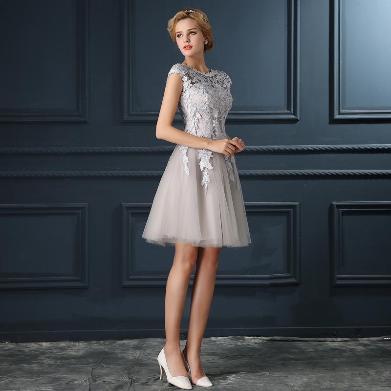 Robe De Soiree 2017 gery u collar Lace Up short evening dress abendkleider vestito da sera prom dresses party dresses 4 colors 2