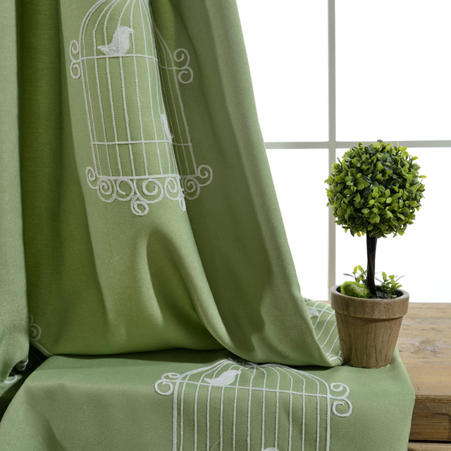 groene gordijnen wit geborduurd vogel tule voor de slaapkamer faux linnen verduisterende gordijnen voor de woonkamer