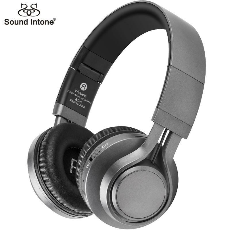 Sound Intone BT-08 Bass Wireless Headphones Bluetooth With Mic Support TF Card FM Gaming Headset For Computer Mobile Phone MP3
