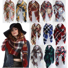 Hot sale Tartan Oversized Blanket women Scarf Shawl Large Tartan lady's winter Scarf soft Wrap Plaid Cozy Pashmina Warp