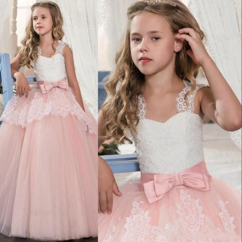 High Quality White Lace Pink   Flower     Girl     Dresses   Lovely Ball Gown Party   Dress     Girls   Birthday   Dresses   with Bow Sash Custom Made