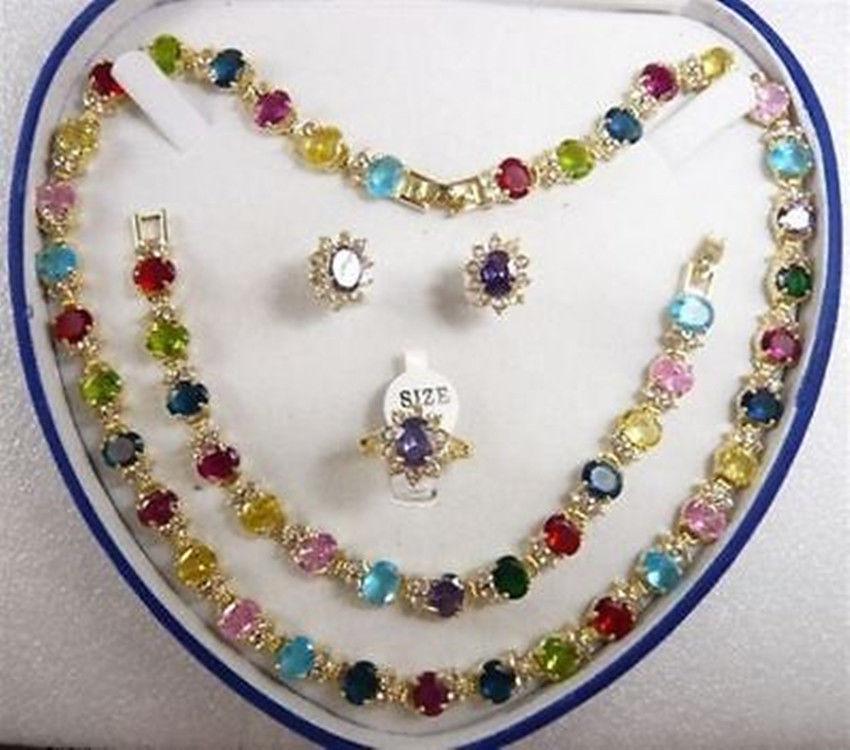 Женский cospay mujer moda многоцветный циркон ожерелье браслет серьги кольцо (6 # 9 #) ^^ GP Стиль Fine jewe Noble