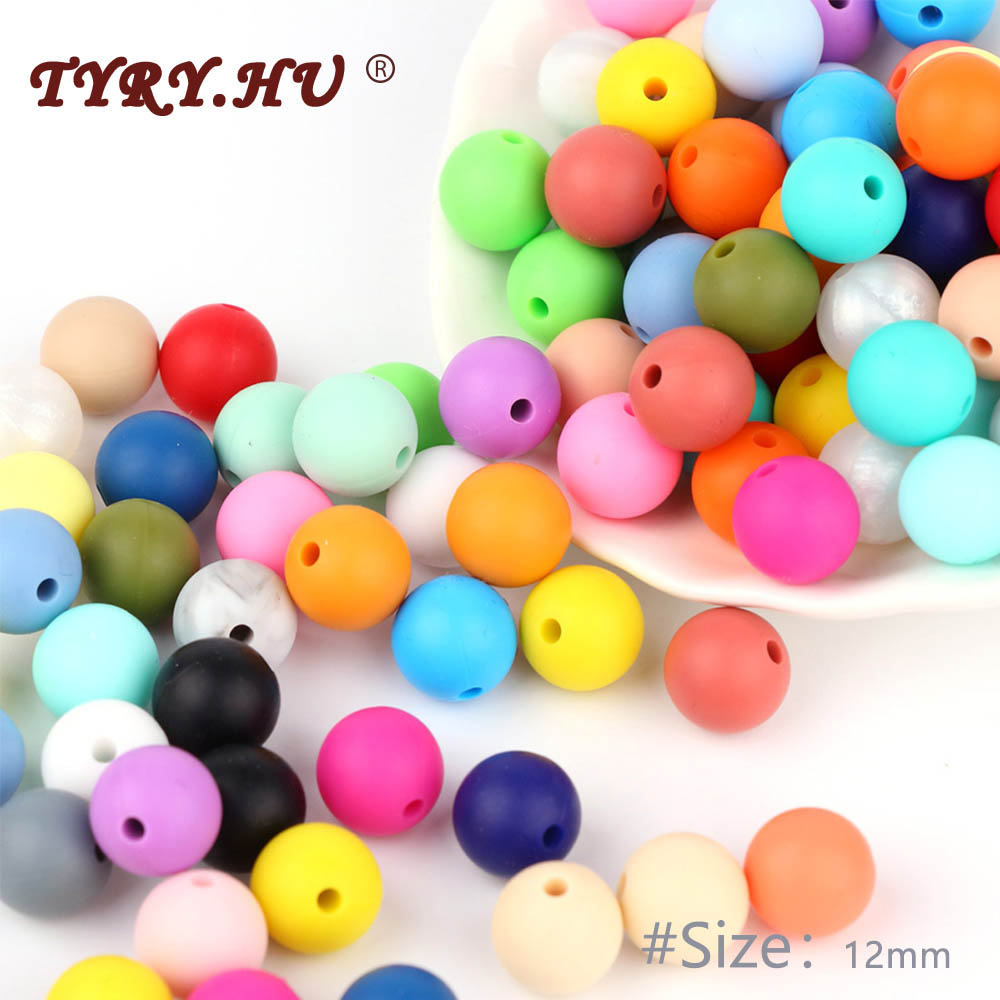 TYRY HU 500Pcs 12mm Pearl Silicone Beads Baby DIY Necklaces Pacifier Chain Accessories Teething Food Grade