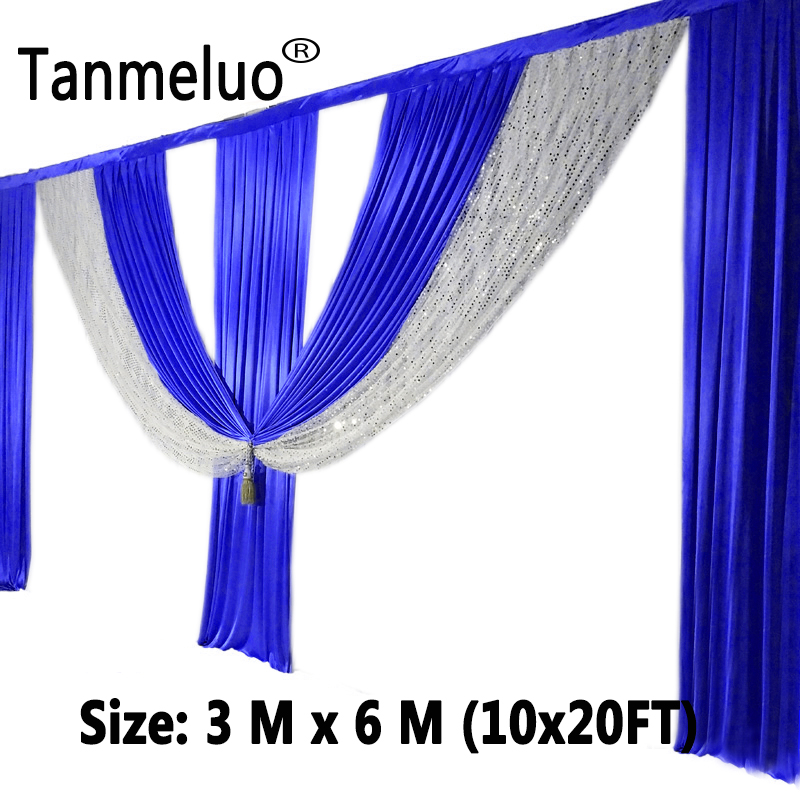 6M length royal blue swags wedding backdrop curtain sequin event party celebration stage background drapes wall