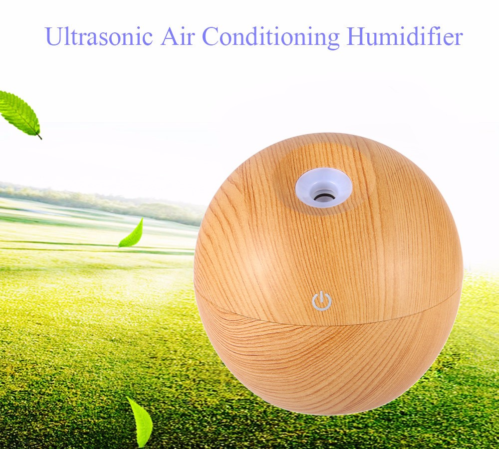 Portable Ultrasonic Humidifier Wood Grain Aromatherapy Essential Oil Diffuser USB Charging Air Humidifier with 130ML Water Tank