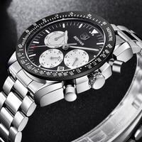 BENYAR Brand Men Sport Chronograph Watches All pointers work Waterproof Fashion Steel Stainless Quartz Watch dropshipping black
