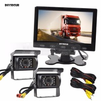 DIYSECUR DC12V 24V 7inch Car Parking Monitor Touch Screen + Waterproof 2 x IR CCD Rear View Camera + Remote Control