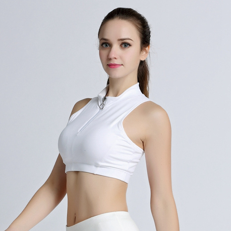 1992731a15ab3 Lumier Sports Top Female Fitness Crop Tank Tops Small Collar Vest With  Zipper Workout Running Yoga ...