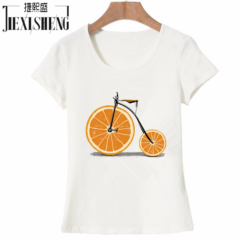 Summer Funny Fruit Bicycle Print T Shirt Women Casual