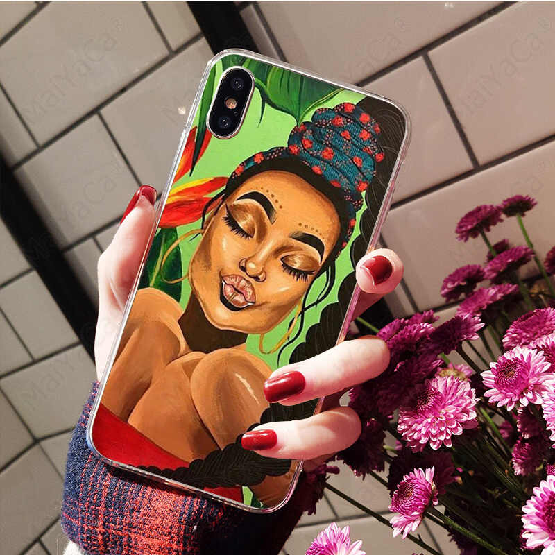 MaiYaCa カラフルなアート african girl 透明ソフトシェル電話ケース用 7 6 6S プラス X XS 最大 5 5S 、 SE XR 8 カバー