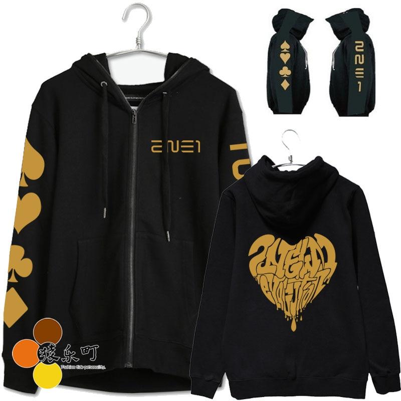 New arrival 2ne1 cl dara same zipper jacket fashion 2ne1 black jack printing hoodie jackets sweatshirt tracksuit