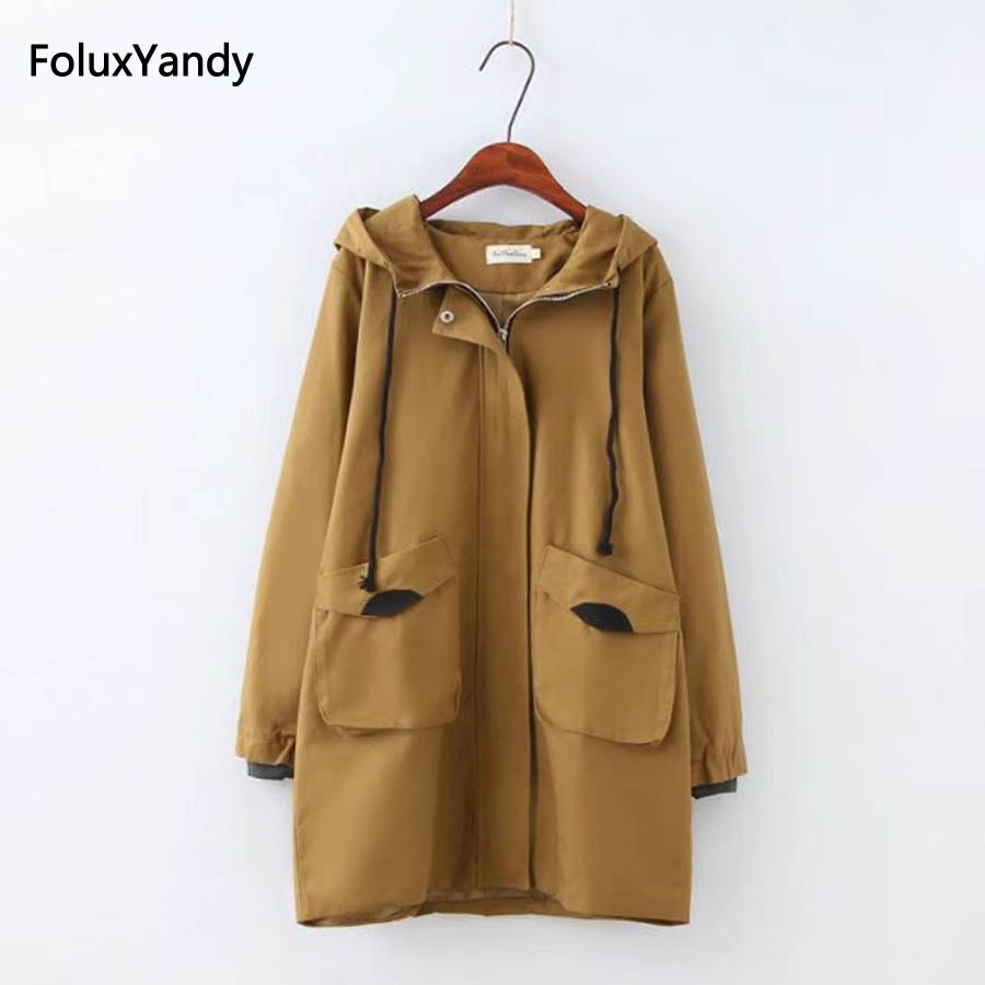 Hooded Autumn   Trench   Women Plus Size 3 4 XL Casual Pockets Zipper Loose Long   Trench   Coat Khaki/Black Outerwear KKFY310