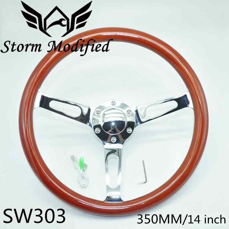 Alta qualidade 350mm 14 polegada clássico mogno real de madeira esporte volante com sliver falou sw303