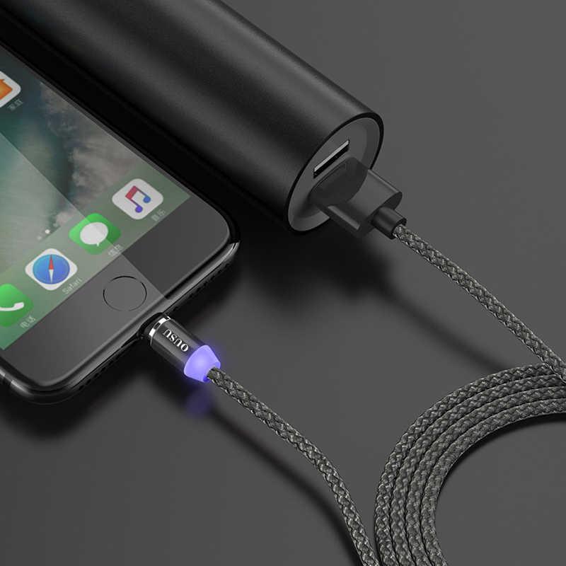 OUSU 2.4A szybki kabel do ładowania kabel magnetyczny dla iphone xr 7 xs dla kabel ze świecącą końcówką typu C Micro USB ładowarka magnetyczna z systemem Android