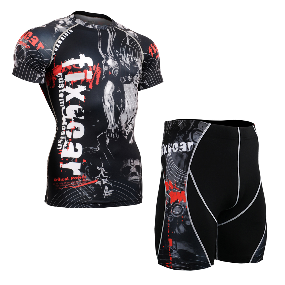 Men Compression Short Sleeve Cycling Sport suit Sport Suit Skin-Tight Gym Training MMA Workout Fitness Yoga Set CFS/P2S-B30 exercise spin bike home gym bicycle cycling cardio fitness training workout bike lose weight fitness equipment load indoor