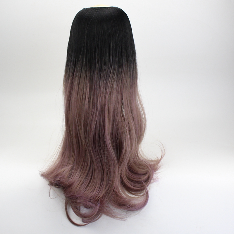 JOY&BEAUTY Long Wavy U Part Wig 24 Pink Grey Ombre Black Resist High Temperature Synthetic Hair Extensions For Women Wig