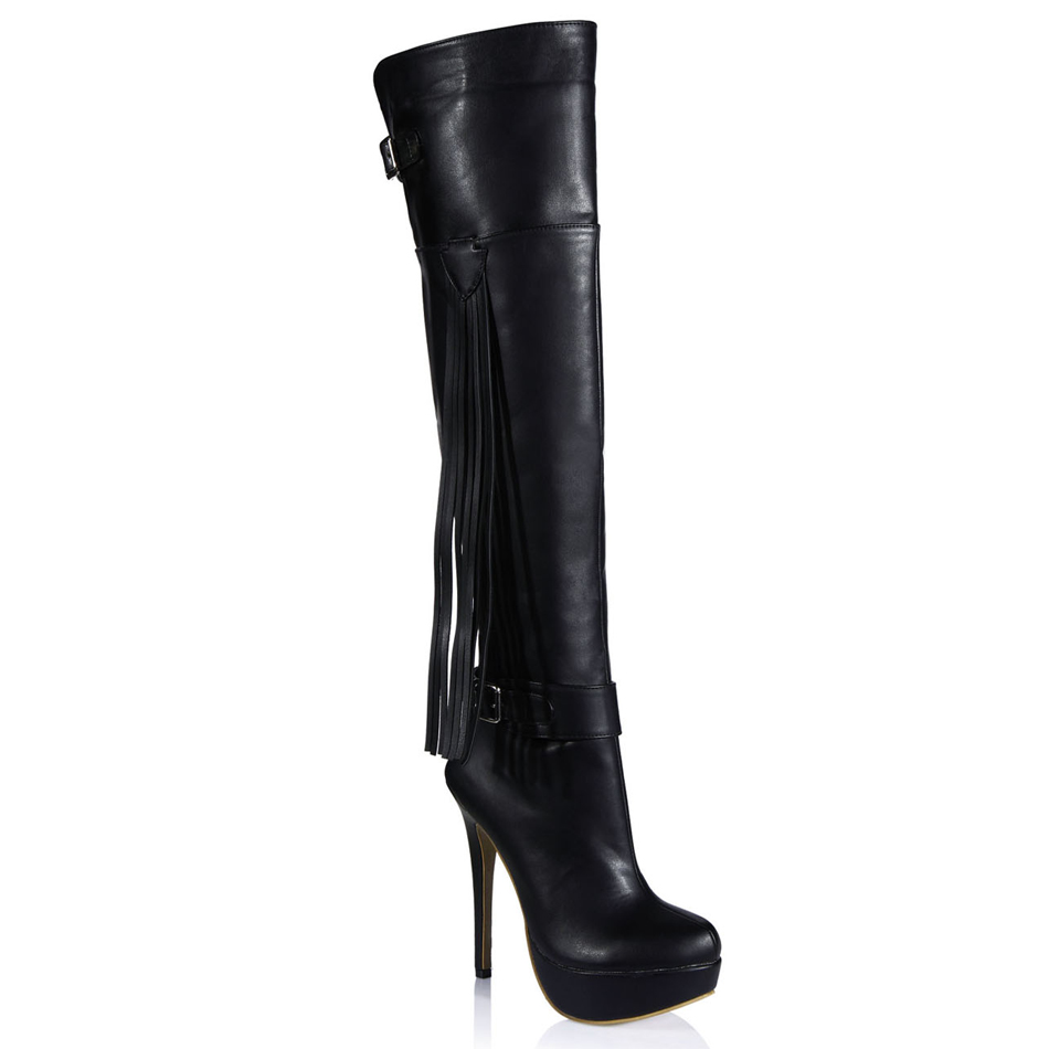 2016 Winter Black Sexy Party Shoe Women Thin High Heels Tassel Buckle Platform Lady Over-the-Knee Boots Zapatos Mujer  3463bt-u1