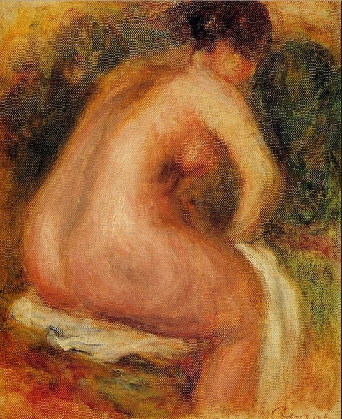 Seated <font><b>Female</b></font> <font><b>Nude</b></font> by Auguste Renoir canvas art <font><b>nude</b></font> woman oil painting reproduction famous artist picture No Frame
