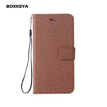 Linen Leather Cases For Sony Xperia XA XA1 XA2 XA1 Plus XZ2 XA1 2017 E5 XZ1 Wallet Flip Linen Mobile Phone Fundas with Strap(China)