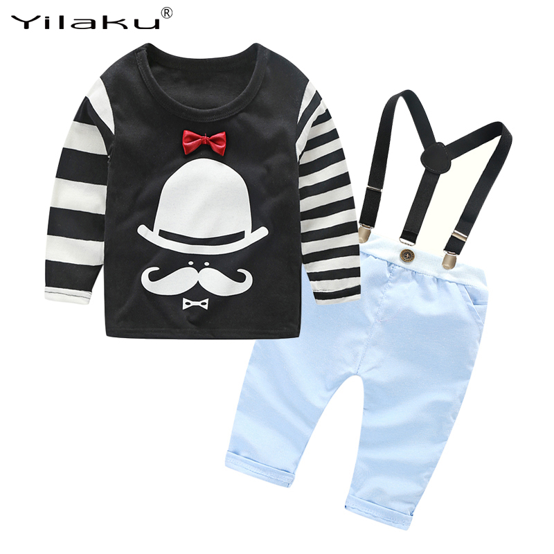 2017 Kids Boys Clothes Set Baby Boy Clothing Sets Child T-shirt+Suspender Trousers Outfits Children Cartoon Clothing Suits CF401
