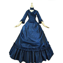 Royal Blue Victorian French Bustle and Swag Dress Ball Gown Theatre Clothing Party Dress