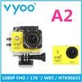 Venda quente Câmera de Ação Wi-fi 1080 P FHD Câmera 170 Ação de Grande Angular À Prova D' Água Cam vyoo A2 ir pro