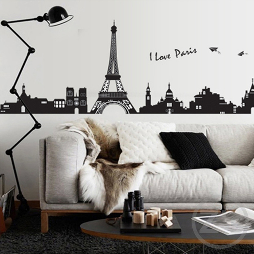 Zs Sticker I love Paris wall sticker eiffel tower home decor black adhesive skyline decal landscape mural large removable city
