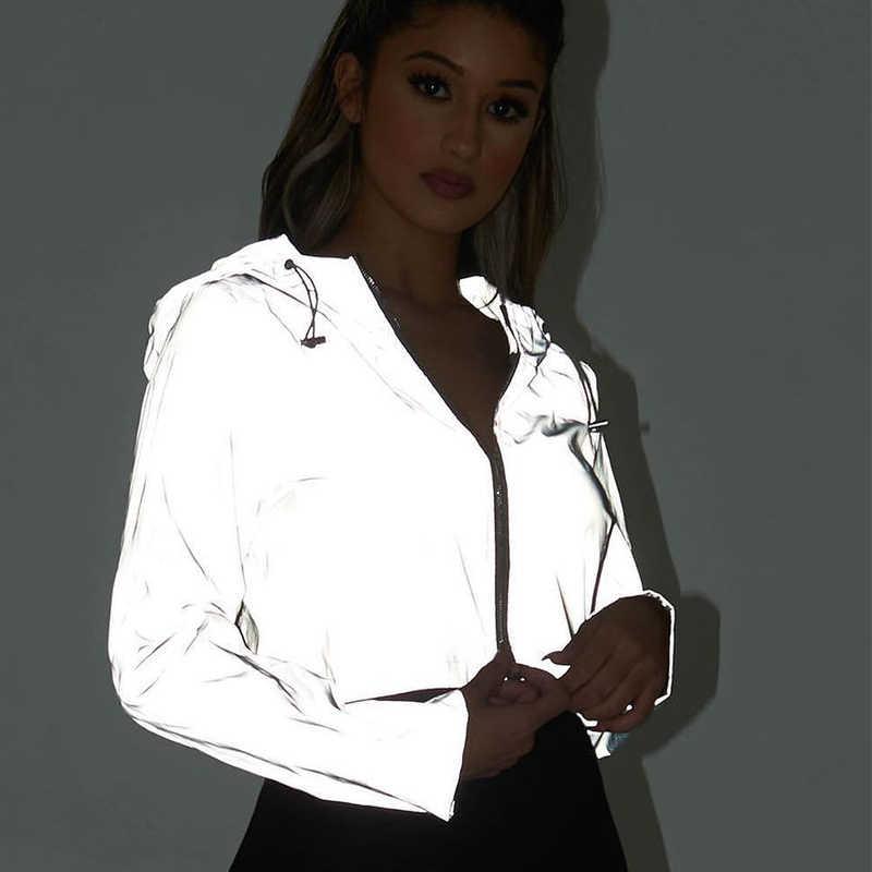 反射 Boomber フード付きジャケット女性ナイトグローイングショートジャケットコートストリート長袖ジッパー生き抜く女性ホログラフィック