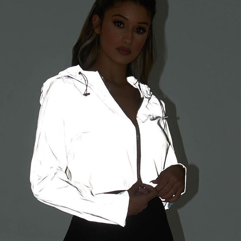 Reflective Boomber Hooded Jacket Women Night Glowing Short Jacket Coat Streetwear Long Sleeve Zipper Outwear Women Holographic