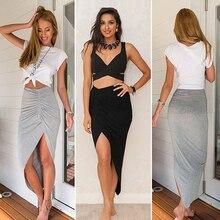 Women's Sexy Ruffles Decor Asymmetrical High Waist Maxi Skirt Bodycon