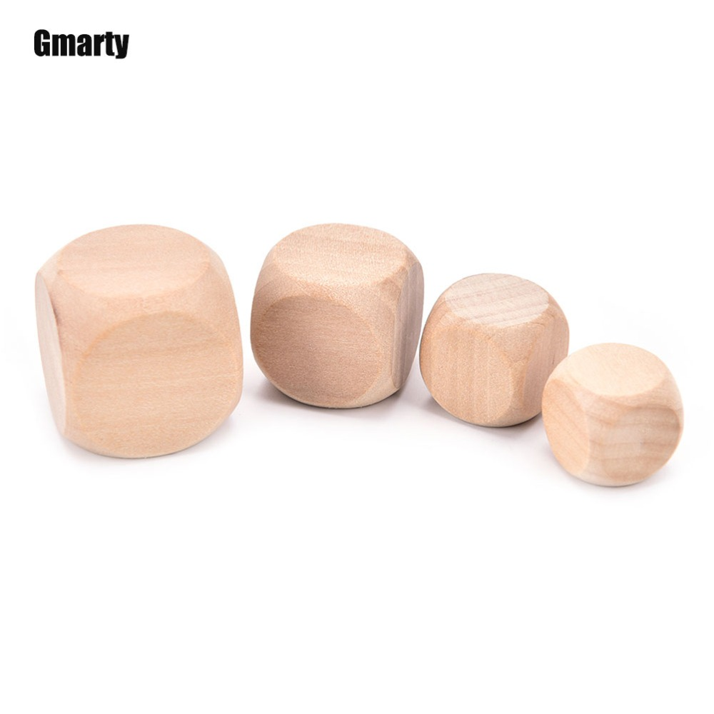 6 Sided Blank Wood Dice Party Family DIY Games Printing Engraving Kid Toys 18mm 20mm 25mm 30mm