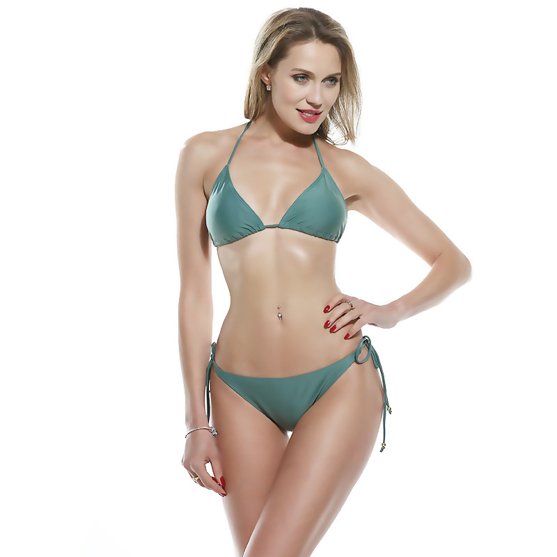 OCQBI bikini 2019 Sexy Solid Backless Women Swimwear Low Waist micro bikini brazilian thong Beach Sexy Swimwear in Bikinis Set from Sports Entertainment