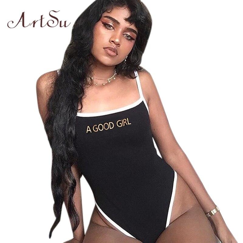 400e4851832b ArtSu mujeres Sexy mono negro Streetwear carta impresión Correa vestido Bodycon  mujer Catsuit cuerpo mameluco Bodysuits