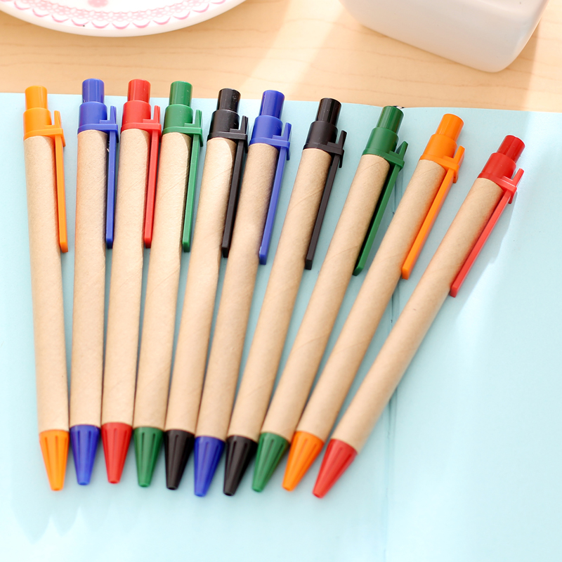 10pcs/lot Kraft paper tube environmental protection ballpoint pen regeneration paper simple business paper pen wholesale
