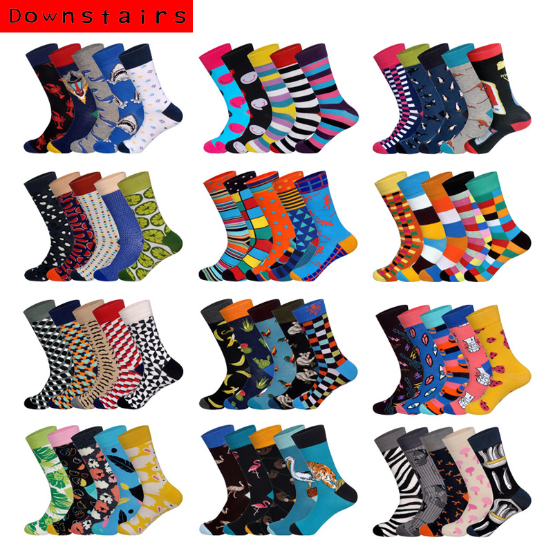 Downstairs 5Pairs/lot 13 Selects British Style Streetwear Hip Hop Skateboarding Stockings Brand Desinger Colored Happy Socks
