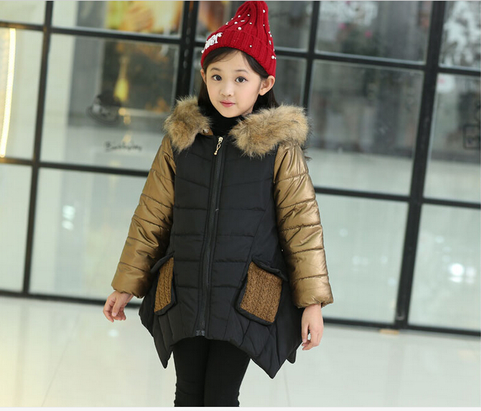 HOT 2016new More girls warm splicing cotton padded clothes Han edition winter new cuhk children s