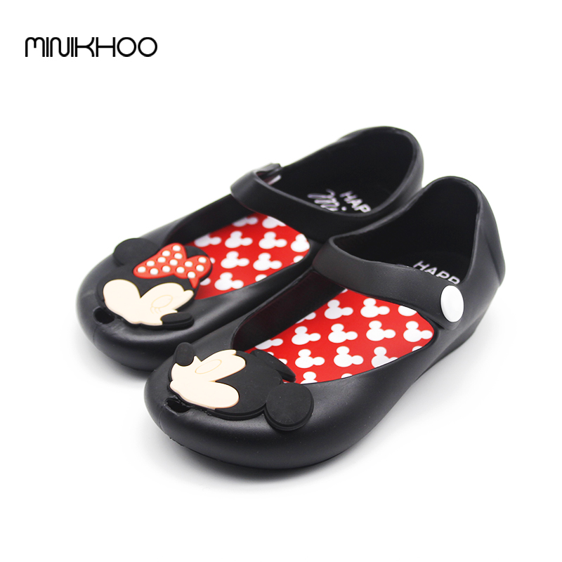 Cartoon Mickey & Minnie Mini Melissa Girls Sandals Summer PVC Jelly Shoes Toddler Girl Sandals Beach Sandals Kids Waterproof