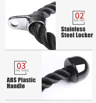 Heavy Duty Tricep Rope Abdominal Crunches Cable Pull Down Laterals Biceps Muscle Training Fitness Body Building Gym Pull Rope 6