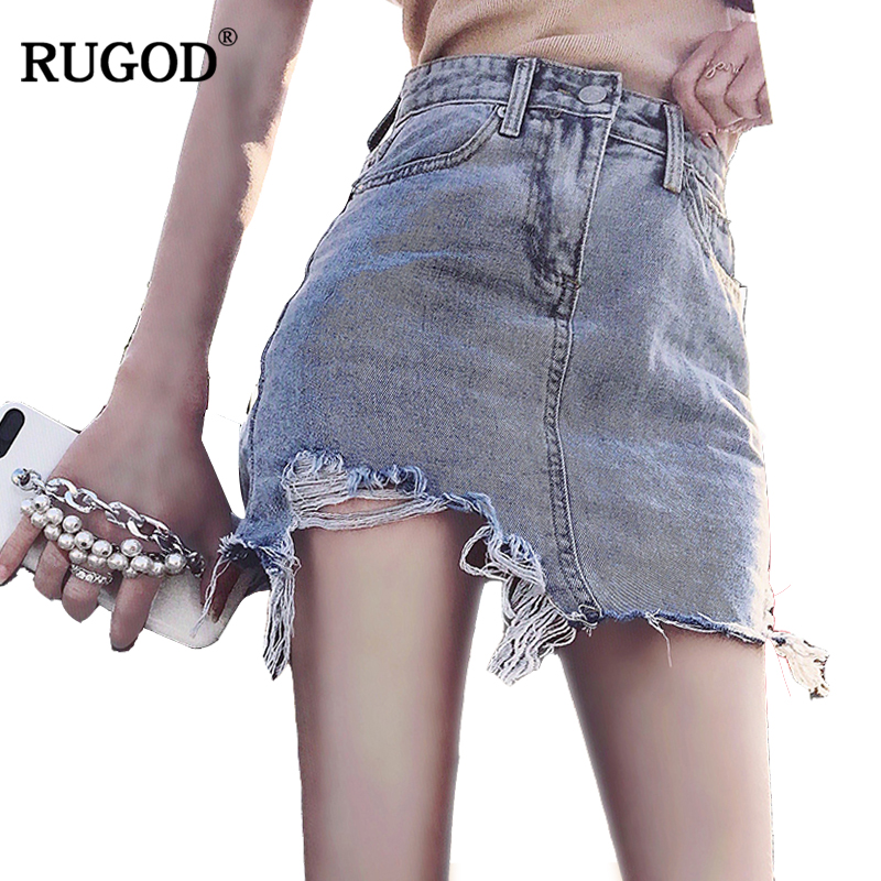RUGOD 2018 New Arrival Spring Summer Casual Women Denim Skirt Hot Sale Fashionable Female Vintage Skirt Ripped