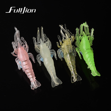 Fishing Lures Wobbler Shrimp Simulation Soft Prawn Luminous Lure With Hooks Fishing Tackle Pesca Artificial Baits 4 Colors