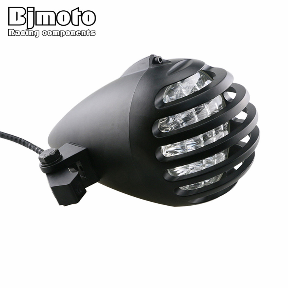 Здесь продается  BJMOTO EMARK APRROVED H4 Bullet Motorcycle Headlight Deep Cut Grille Motocross Headlamp For Harley Davidson Touring Softail  Автомобили и Мотоциклы