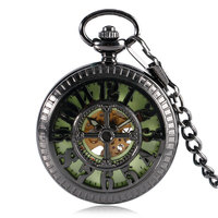 Black Steel Mechanical Pocket Watch Creative Luminous Dial Skeleton Numbers Carving Fob Chain Unique Gifts Clock
