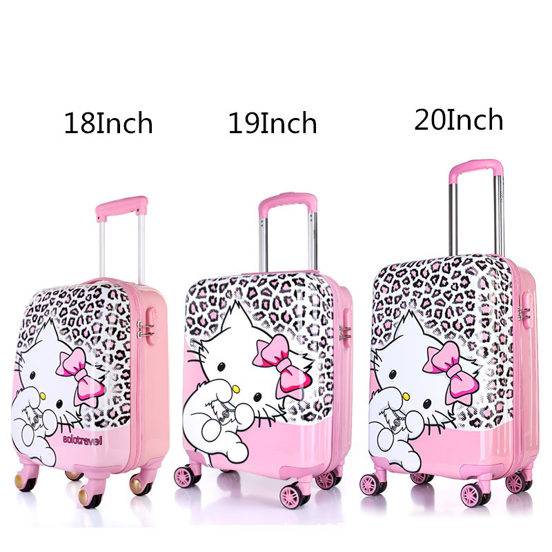 57751b2b4 Detail Feedback Questions about Kids Hello Kitty Travel Suitcase On  Wheels/18'' 19'' 20'' Leopard Designer Spinner Trolley Bags/Girls Cute Cat  Carry On ...