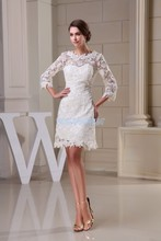 free shipping modest 2013 new design hot sale custom size plus gown beach long sleeve lace short white Bridesmaid Dresses