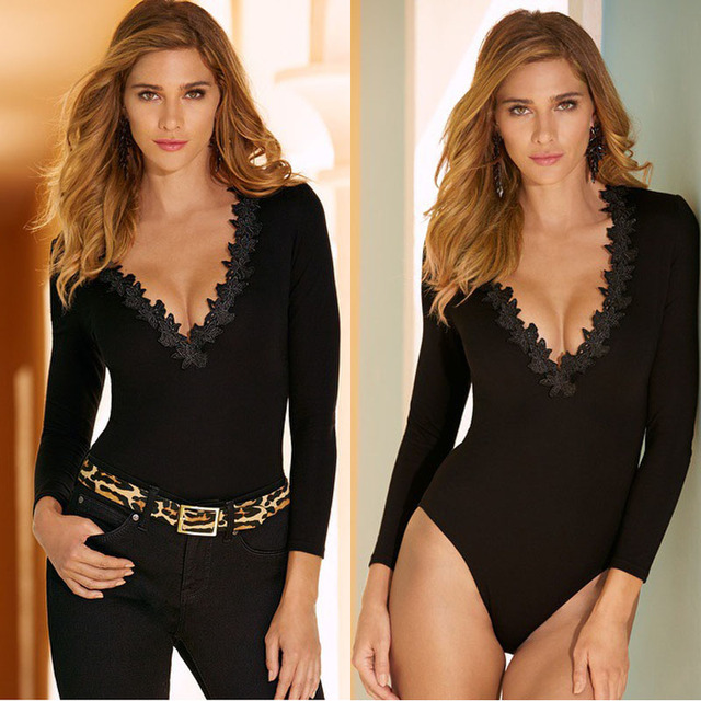 2017 Long Sleeve Black Lace Up Bodycon Sexy Bodysuit Fitness Elastic Deep v Neck Women Short Jumpsuit Rompers Casual Tight Tops