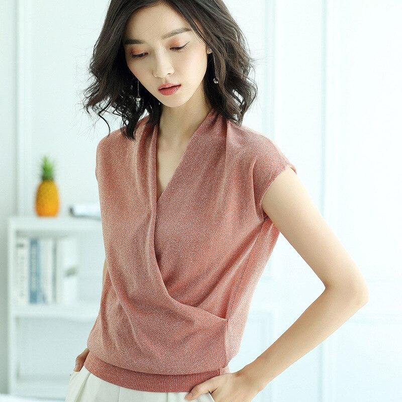 V Neck Knitted Summer T Shirt Women Casual Short Sleeves T-Shirt Elegant Elasticity Kintwear Top Slim Female Tshirt AA069S40