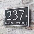 Пользовательские акриловые номер дома дверь номер знак на дом квартира улица адрес эффект стекла виниловая наклейка