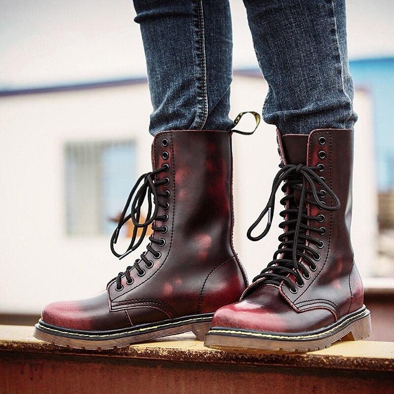 Популярные мотоциклетные ботинки для влюбленных, Размеры 35-46, мужские зимние ботинки Martens с высоким берцем, мужские кожаные повседневные Ро...